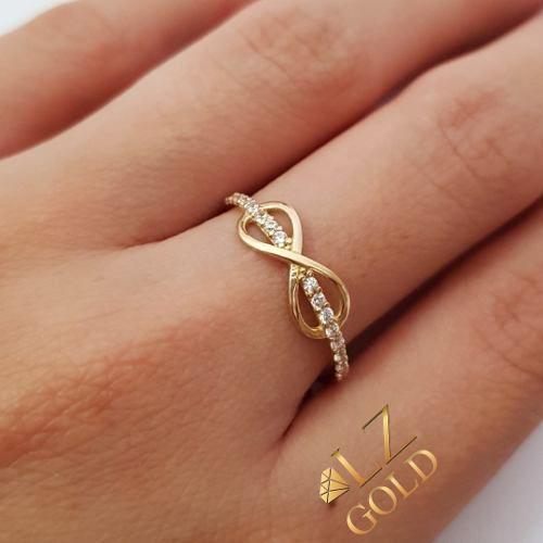 Anel Infinito Liso Aro Fileira Cravejado Ouro 18k 750 Feminino