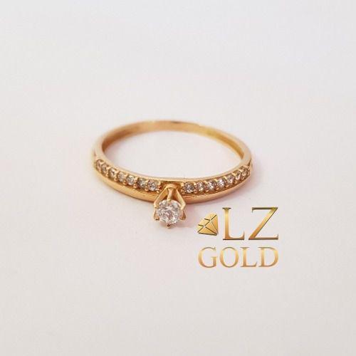 Anel Solitário Fileira De Zircônia Aro Liso Ouro 18k 750 Feminino Noivado Calice
