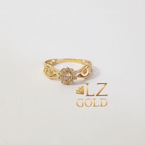Anel Chuveiro Aro Trabalhado Zircônia Ouro 18k 750 Feminino Luxo Diferente