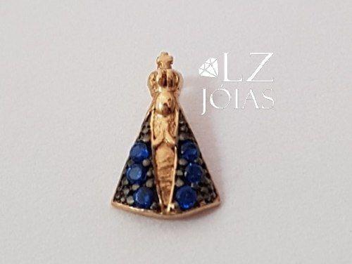 Pingente Nossa Senhora Aparecida Santa Feminino Ouro 18k 750