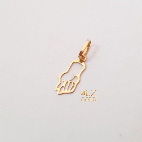Pingente Figa Sorte Pequeno Vazado Amuleto Ouro 18k 750