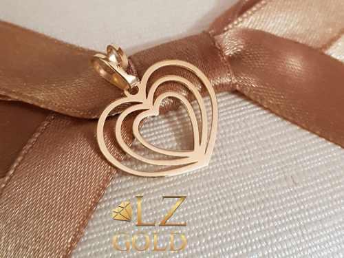 Pingente Coração Ouro 18k Vazado Fofo Feminino Corações Love