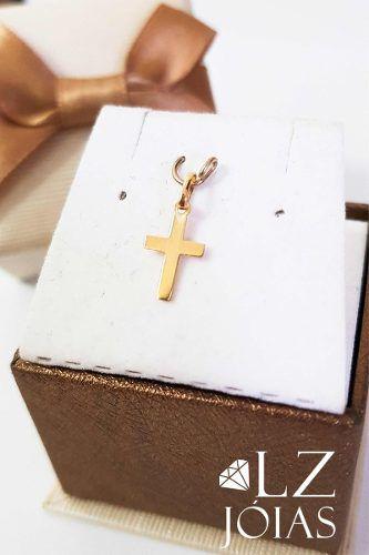 Pingente Cruz Crucifixo Chapa Pequeno Ouro 18k 750 Feminino