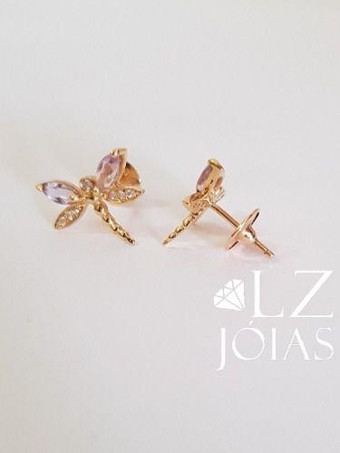 Brinco Libélula Borboleta Diamante Ametista Feminino Ouro18k