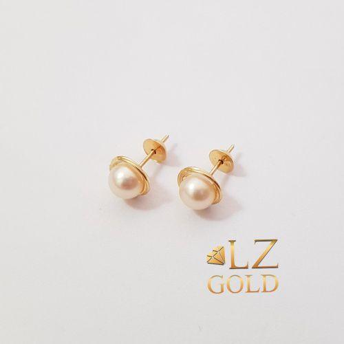 Brinco Rococó Perola 5mm Ouro 18k 750 Feminino Elegante Chic
