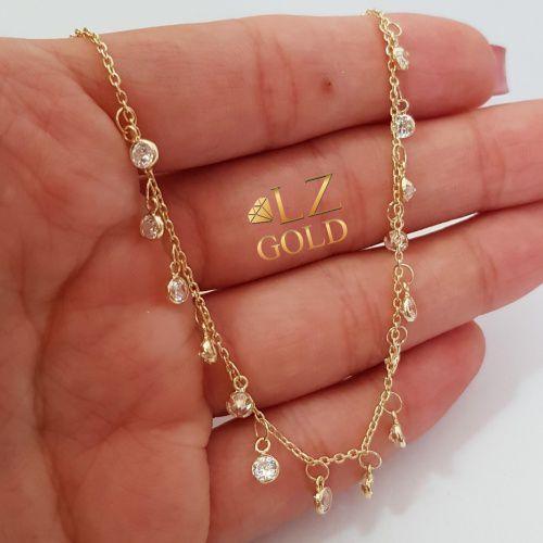 Corrente Ouro 18k Gargantilha Chocker 15 Pedra Zircônia 45cm