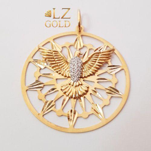Pingente Mandala Ouro 18k 750 Divino Espirito Santo Zircônia