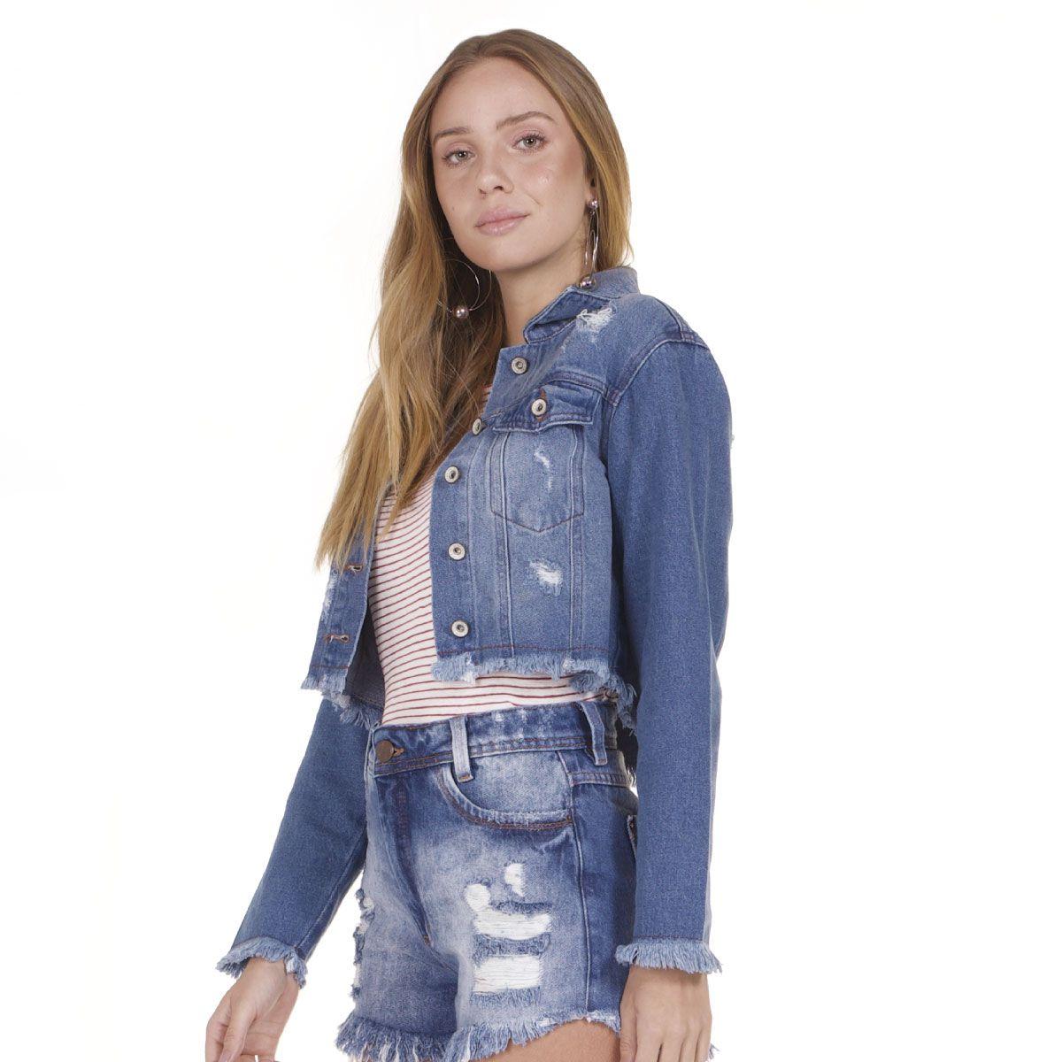 Jaqueta Jeans Areazul Cropped Feminina