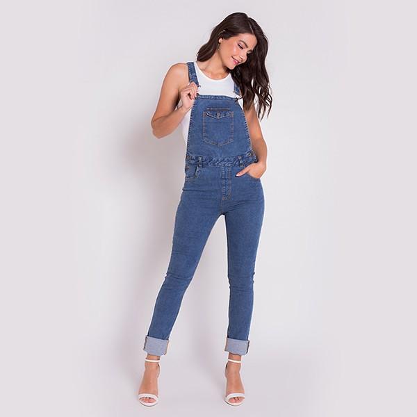 Jardineira Jeans Areazul Feminina