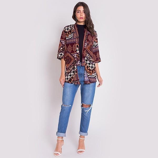 Kimono Areazul Estampado Feminino