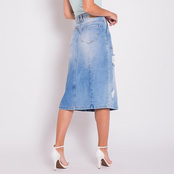 Saia Jeans Areazul Midi Feminina