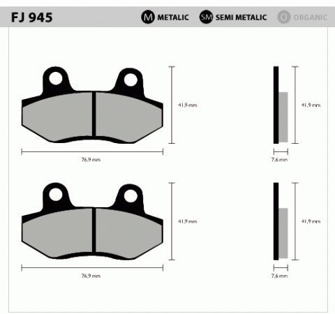 Pastilha Diant e Traseira FJ945 Metálica - Tukas Motos Comércio Ltda
