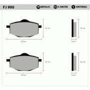Pastilha Traseira Metálica FJ900  - Tukas Motos Comércio Ltda