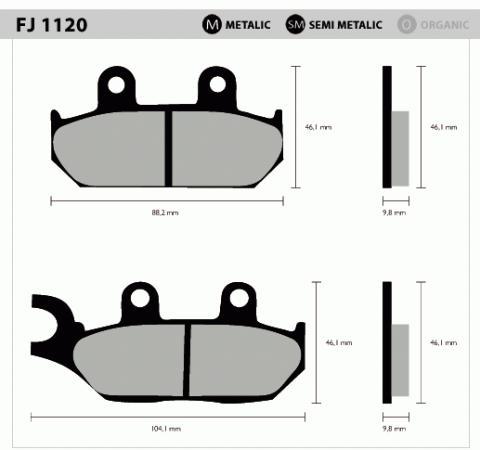 Pastilha Dianteira Metálica FJ1120 - XT600E - Tukas Motos Comércio Ltda