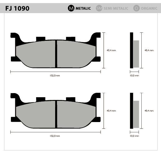Pastilha Dianteira Metálica - XVZ1300 TF Royal Star Venture (1999 a 2007) - Tukas Motos Comércio Ltda