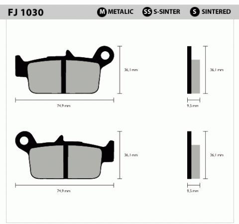 Pastilha Traseira Semi Metalica FJ1030 - Tukas Motos Comércio Ltda