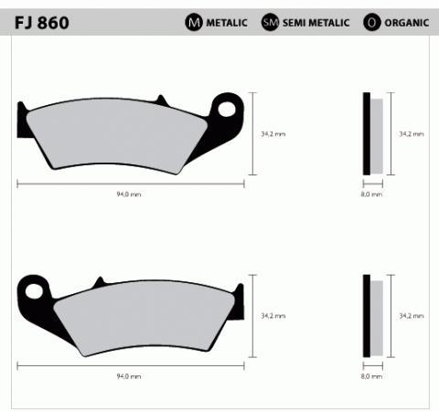 Pastilha Dianteira Metalica FJ860  - Tukas Motos Comércio Ltda
