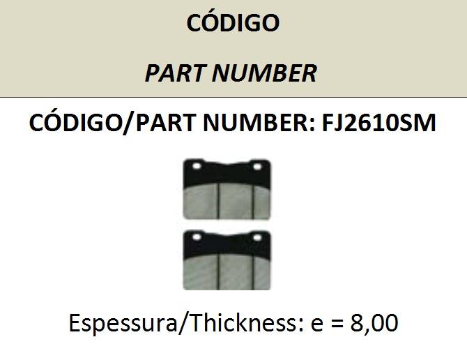 PASTILHA DE FREIO FISCHER FJ2610 - Tukas Motos Comércio Ltda