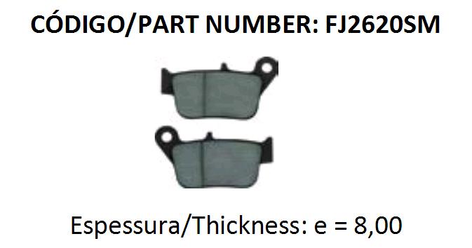PASTILHA DE FREIO FISCHER FJ2620 - Tukas Motos Comércio Ltda