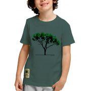 Camiseta Amazônia Adolescente Árvore Aquarela - Cinza