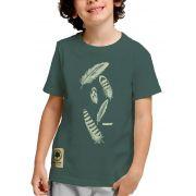 Camiseta Amazônia Adolescente Penas - Cinza Escuro