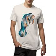 Camiseta Amazônia Flamê Orgânico Peixe Boi - Off White