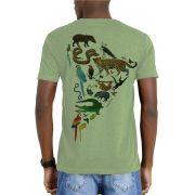 Camiseta Amazônia Garrafa Pet Fauna Mapa - Verde Claro