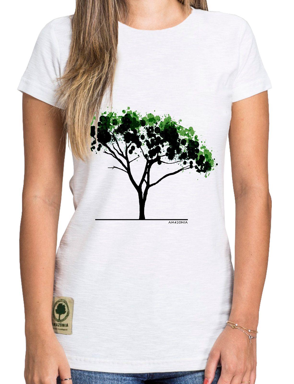 Baby Look Amazônia Árvore Aquarela - Branco