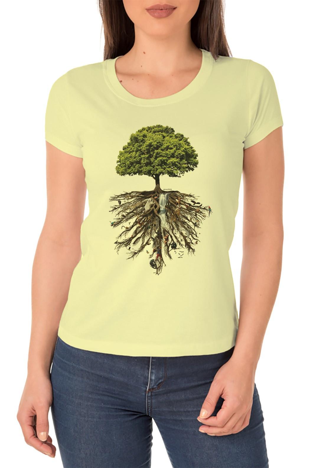 Baby Look Amazônia Árvore da Vida - Amarelo