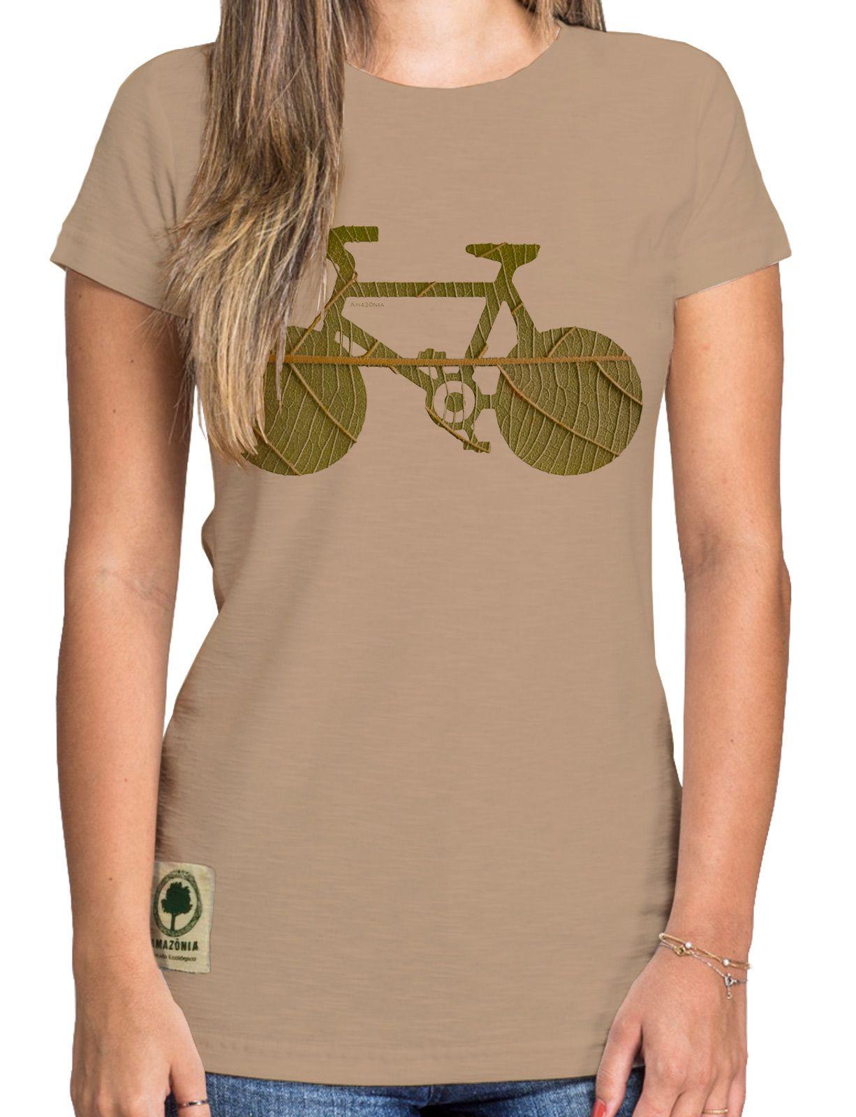 Baby Look Amazônia Bike Folha - Bege
