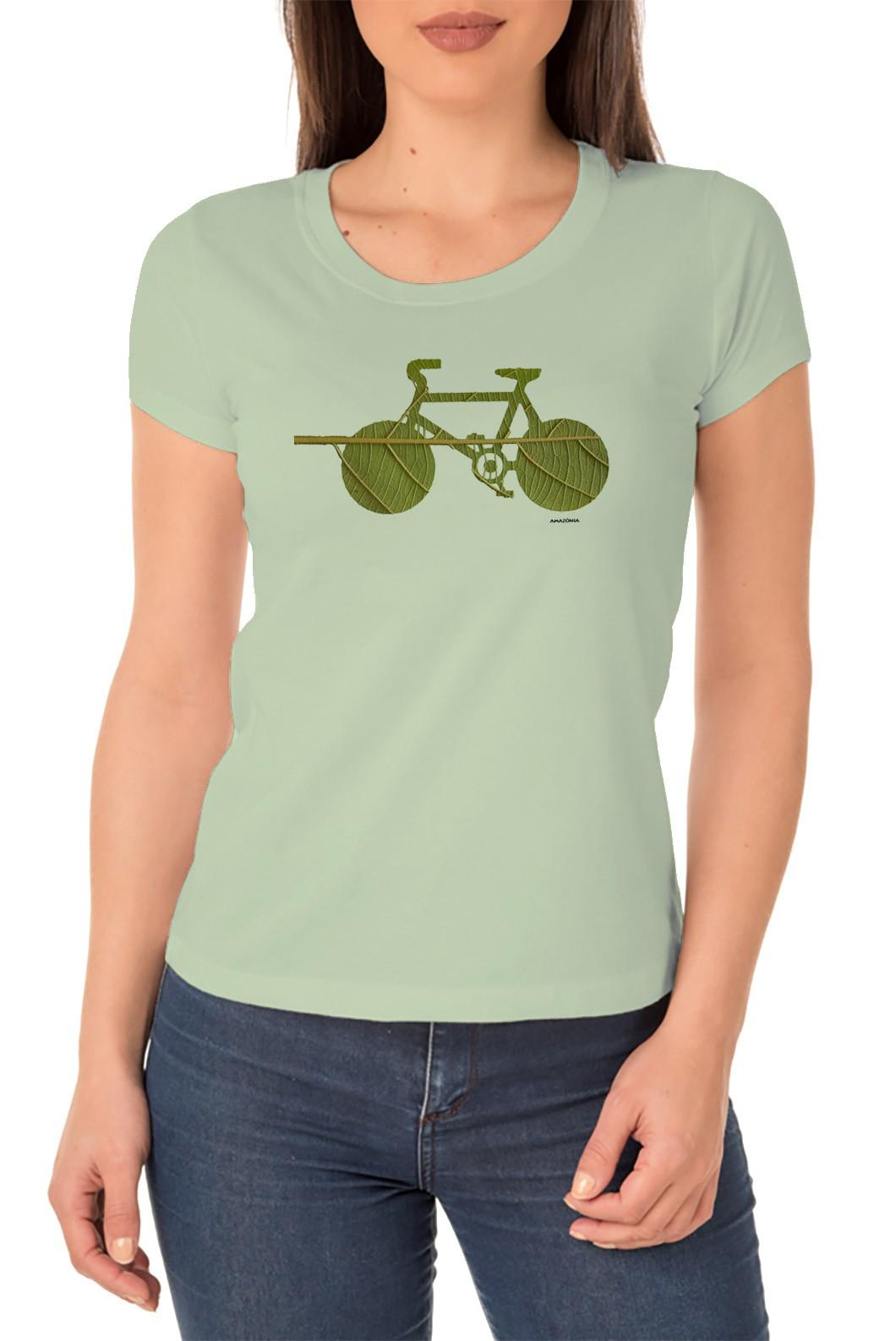 Baby Look Amazônia Bike Folha - Verde/Claro