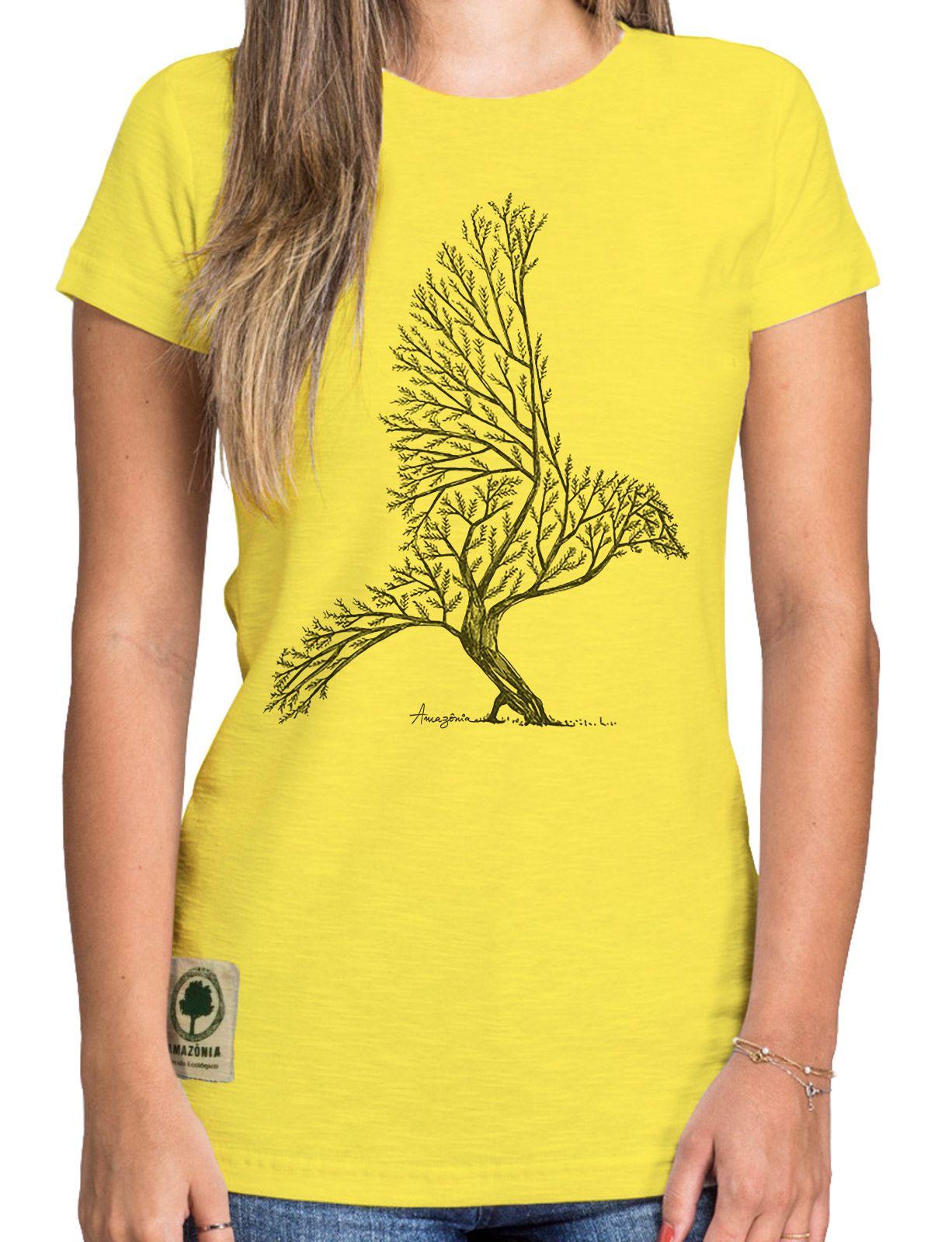 Baby Look Amazônia Bird Tree - Amarelo