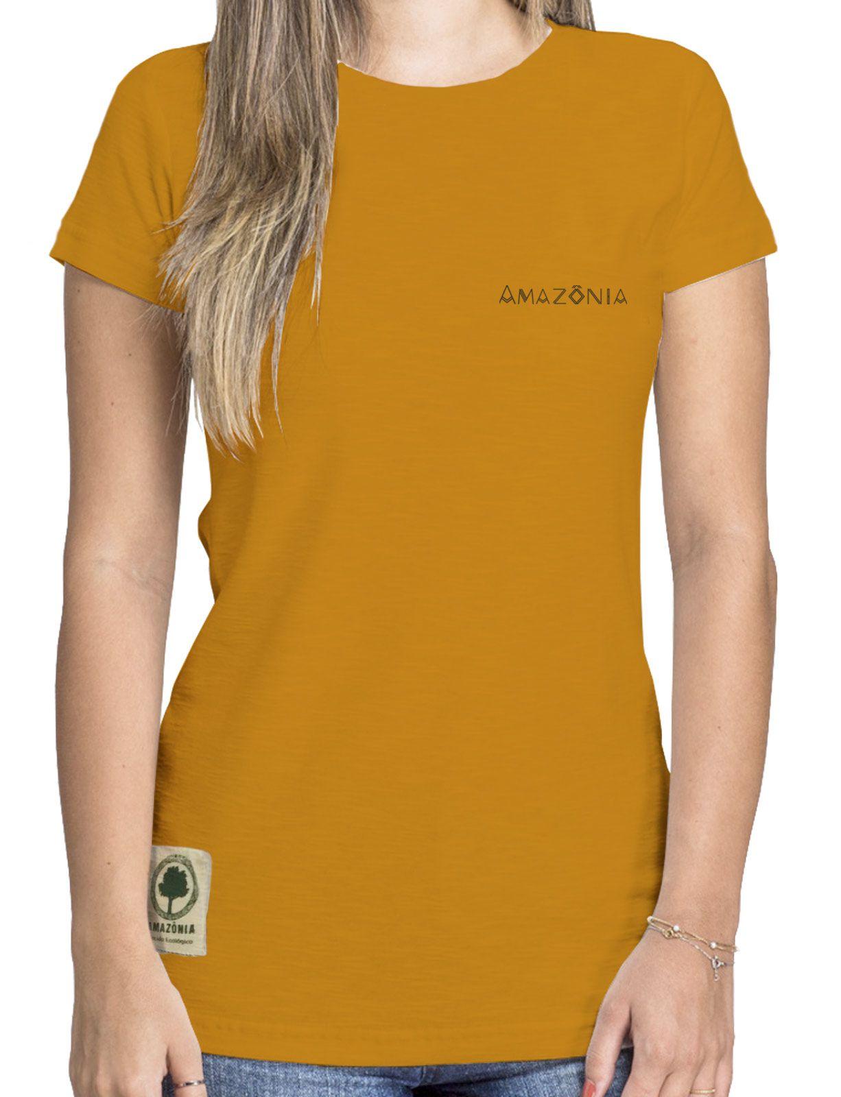 Baby Look Amazônia Colagem Logo - Amarelo Escuro