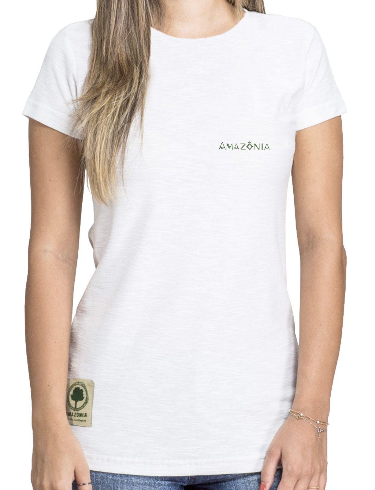 Baby Look Amazônia Colagem Logo - Branco