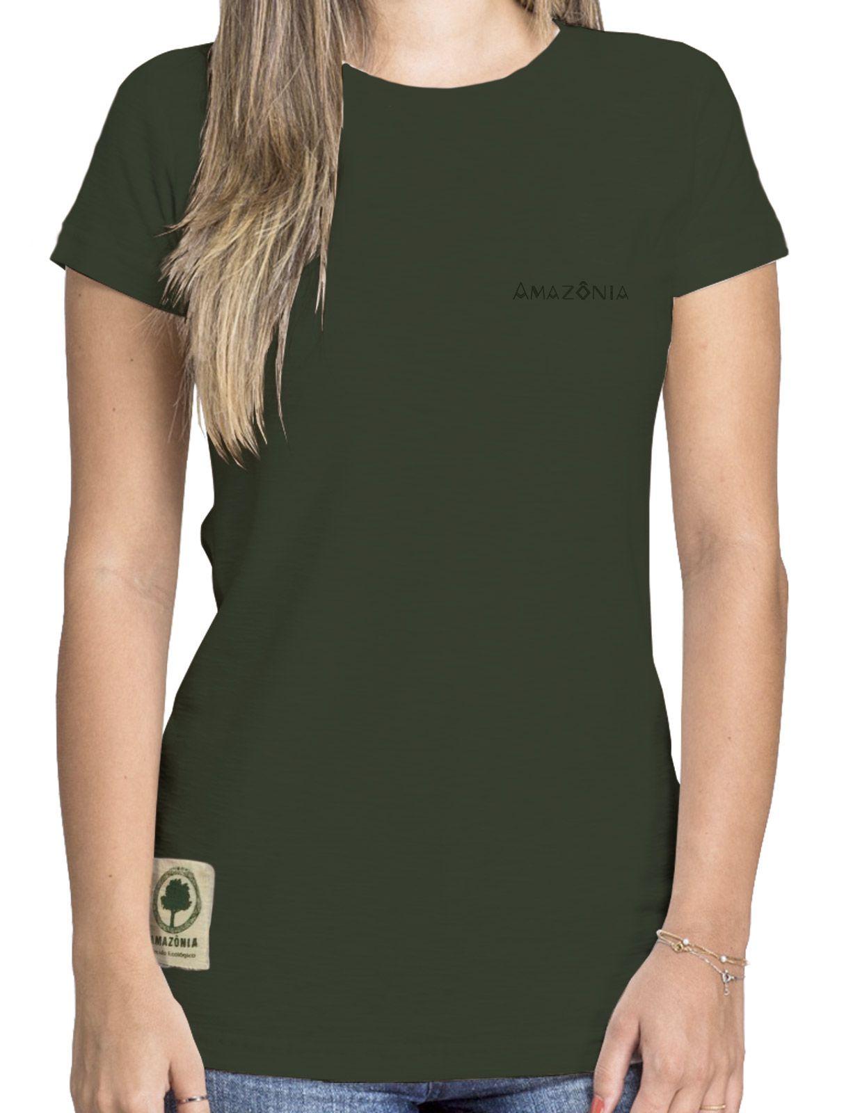 Baby Look Amazônia Colagem Logo - Verde Escuro