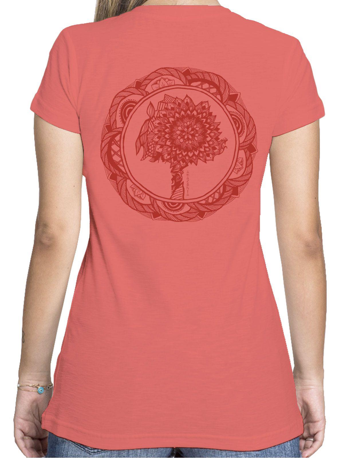 Baby Look Amazônia Colagem Logo - Vermelho