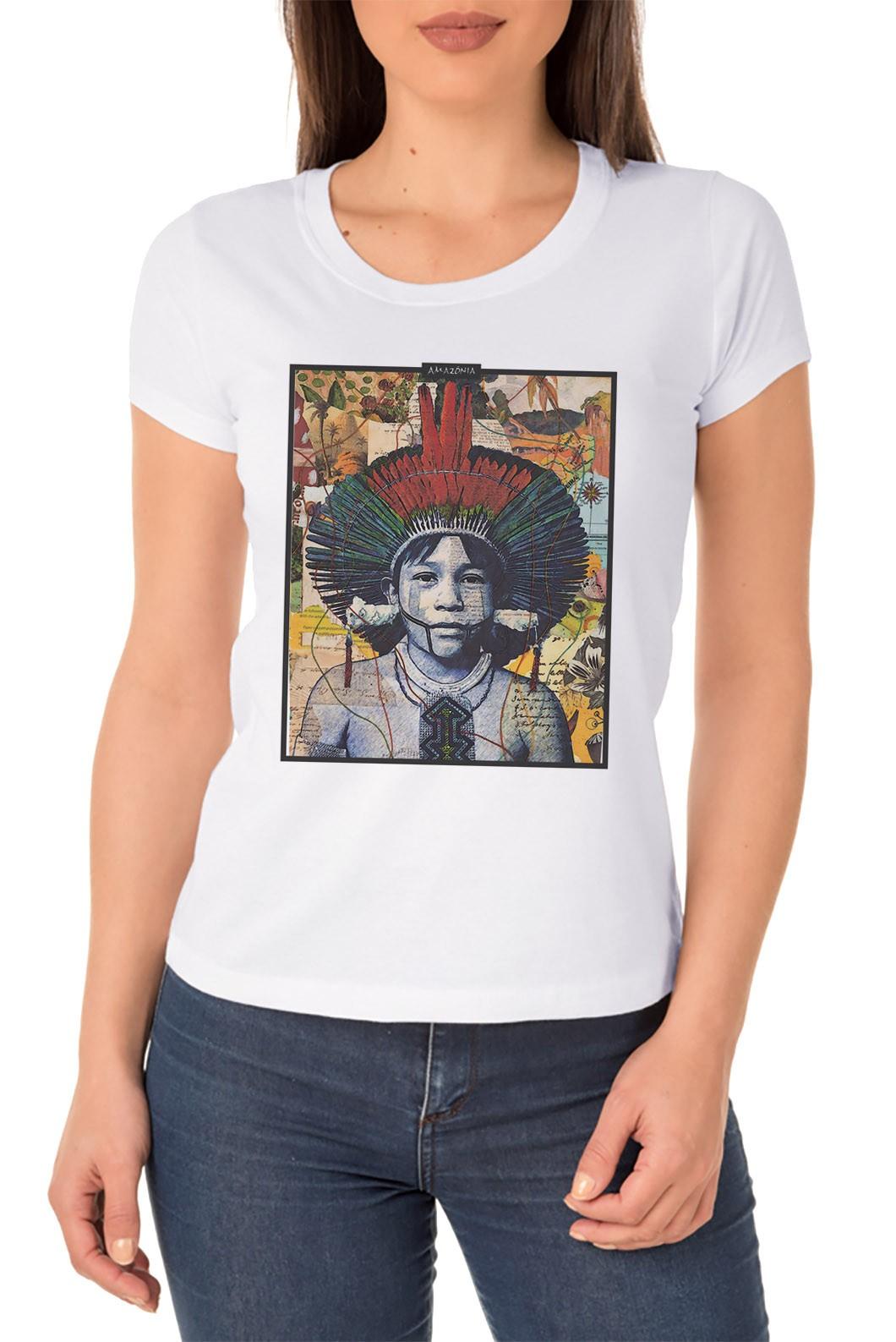 Baby Look Amazônia Color Índio - Branco