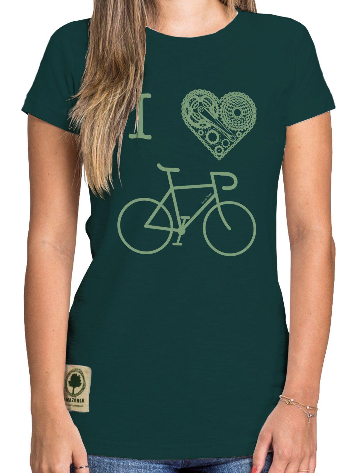 Baby Look Amazônia I Love Bike - Verde Escuro