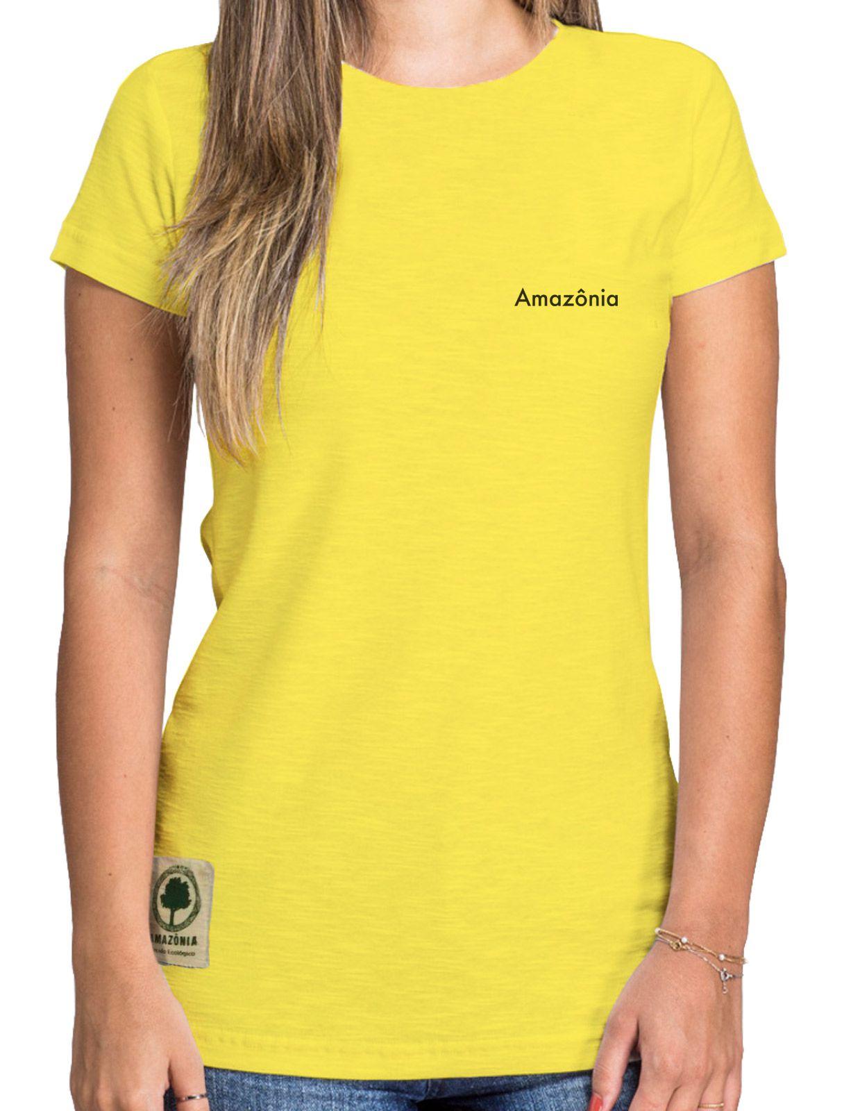Baby Look Amazônia Logo Oficial - Amarelo