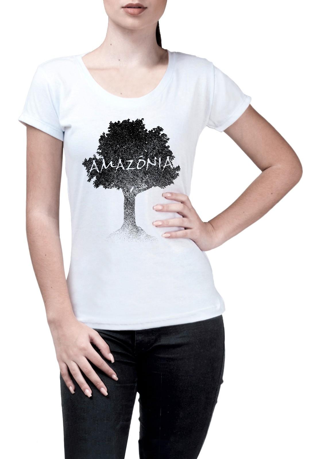 Baby Look Amazônia Logo Terra - Branco