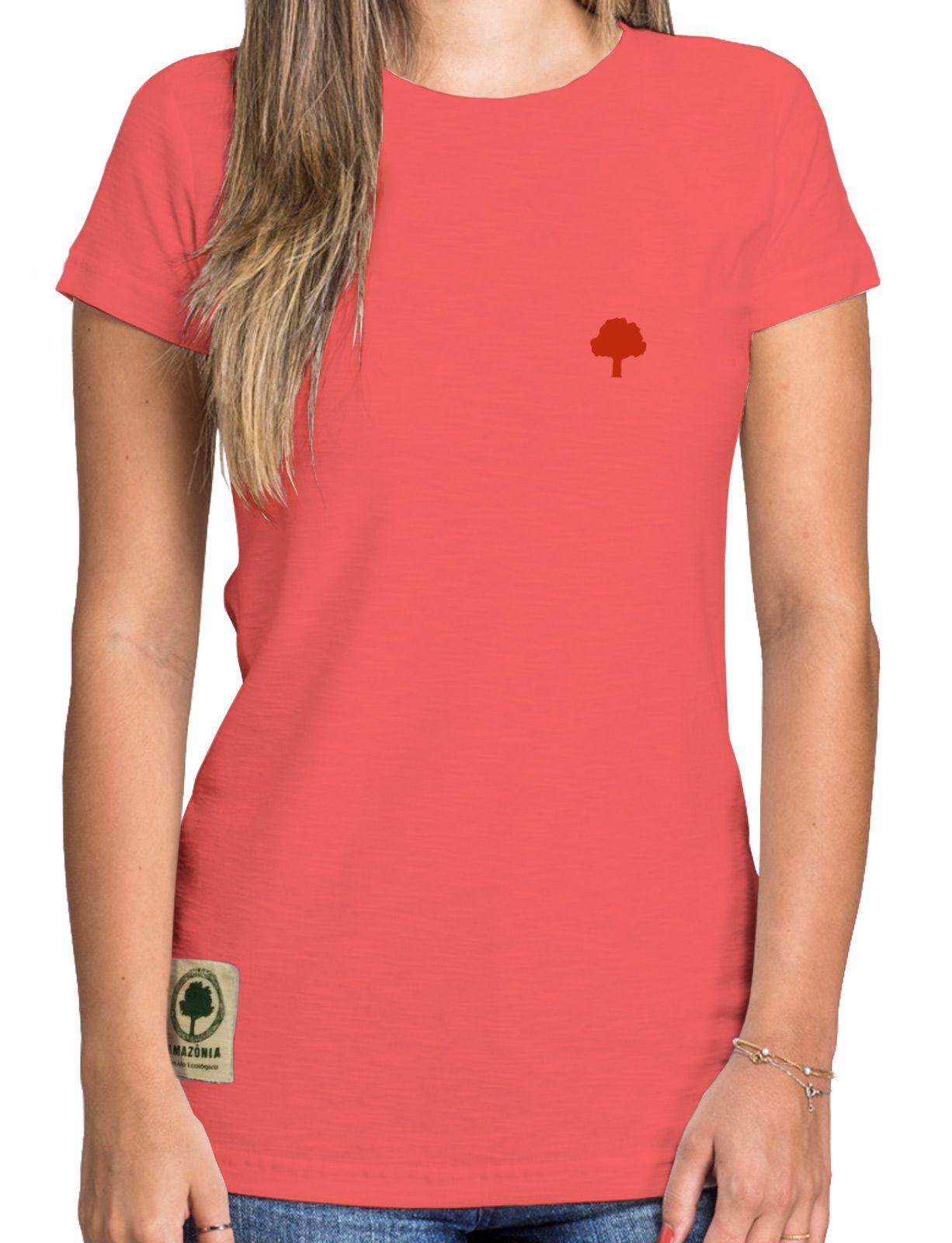 Baby Look Amazônia Logo Terra - Vermelho