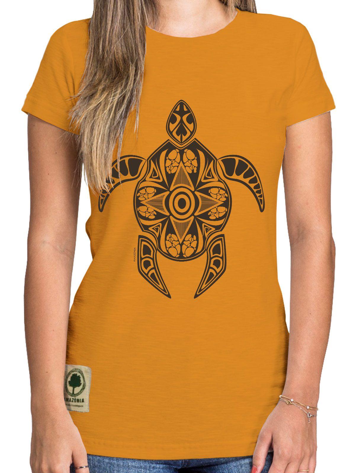 Baby Look Amazônia Tartaruga Maori - Amarelo Escuro