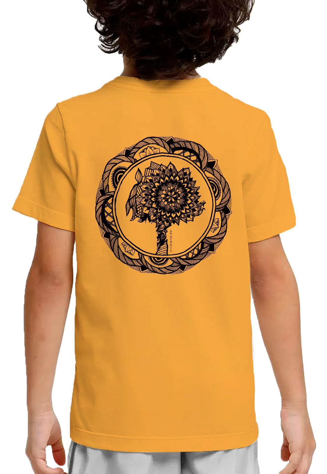 Camiseta Amazônia Adolescente Colagem Logo - Amarelo Escuro