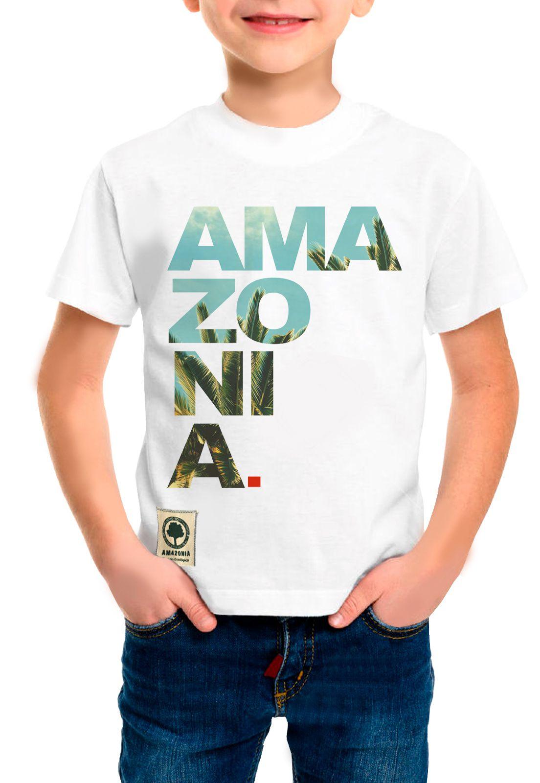 Camiseta Amazônia Infantil  Ama zo ni a - Branco