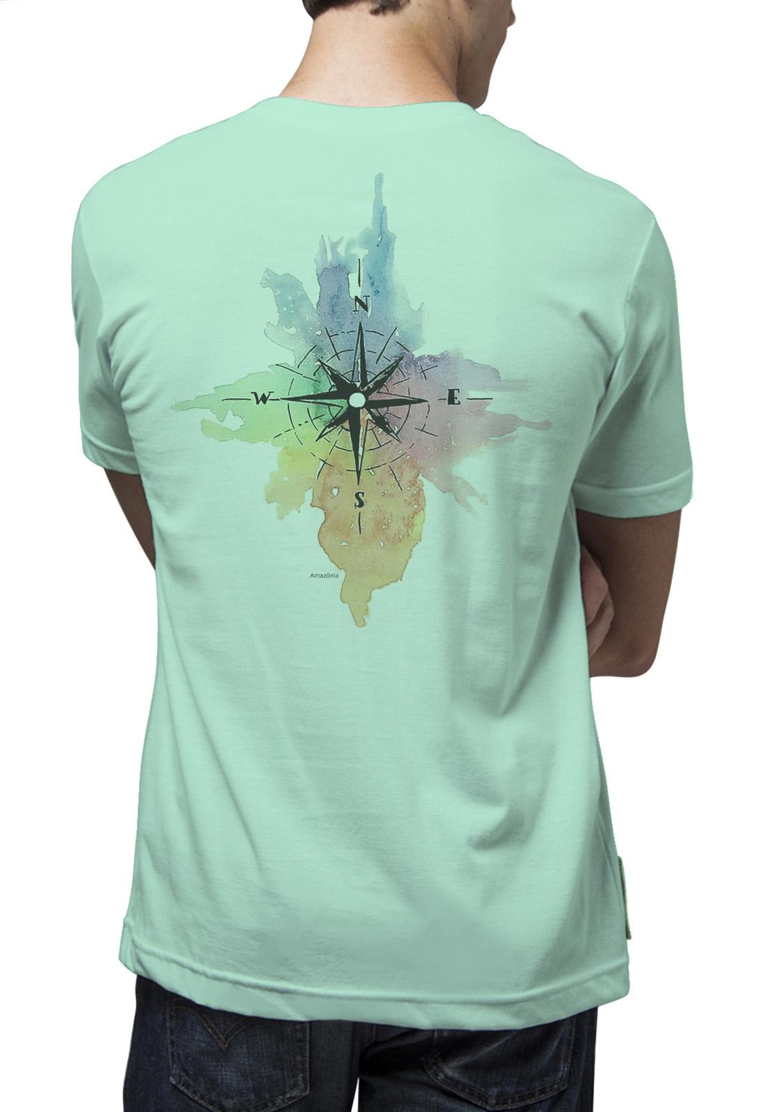 Camiseta Amazônia Aquarela Bússola - Verde Claro