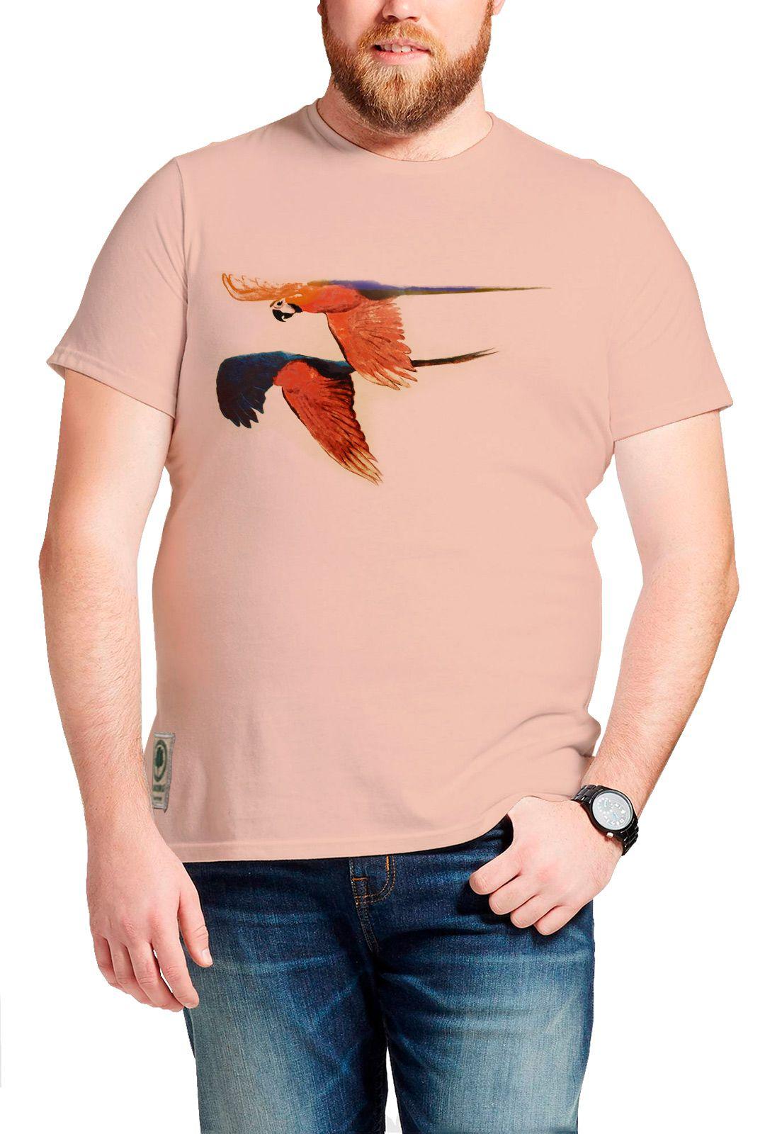 Camiseta Amazônia Araras Voando - Salmão