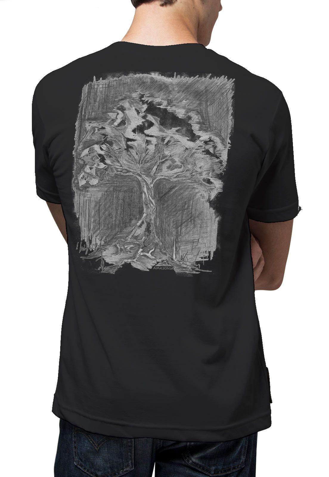 Camiseta Amazônia Árvore Noite - Preto