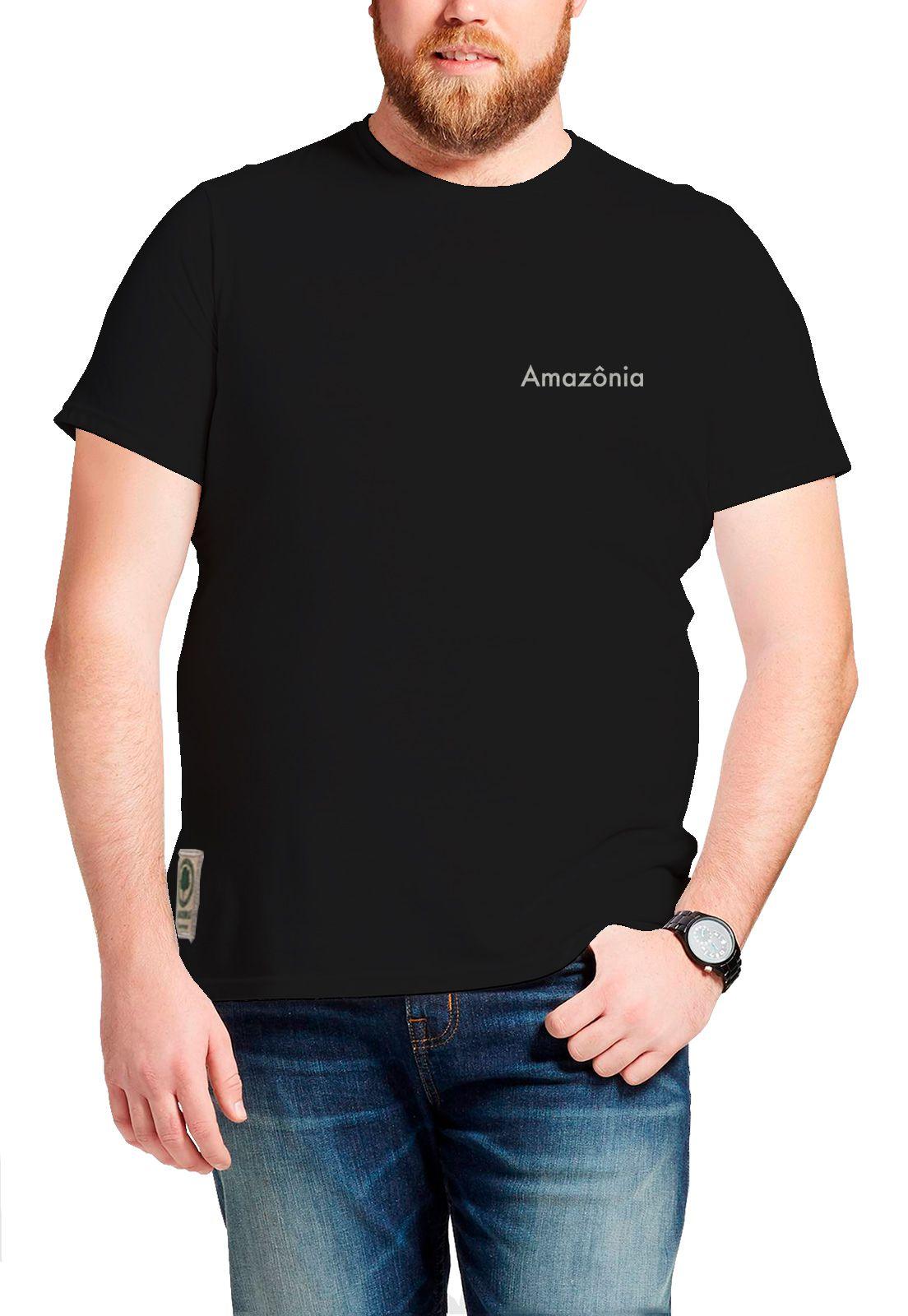 Camiseta Amazônia Árvore Pássaros - Preto