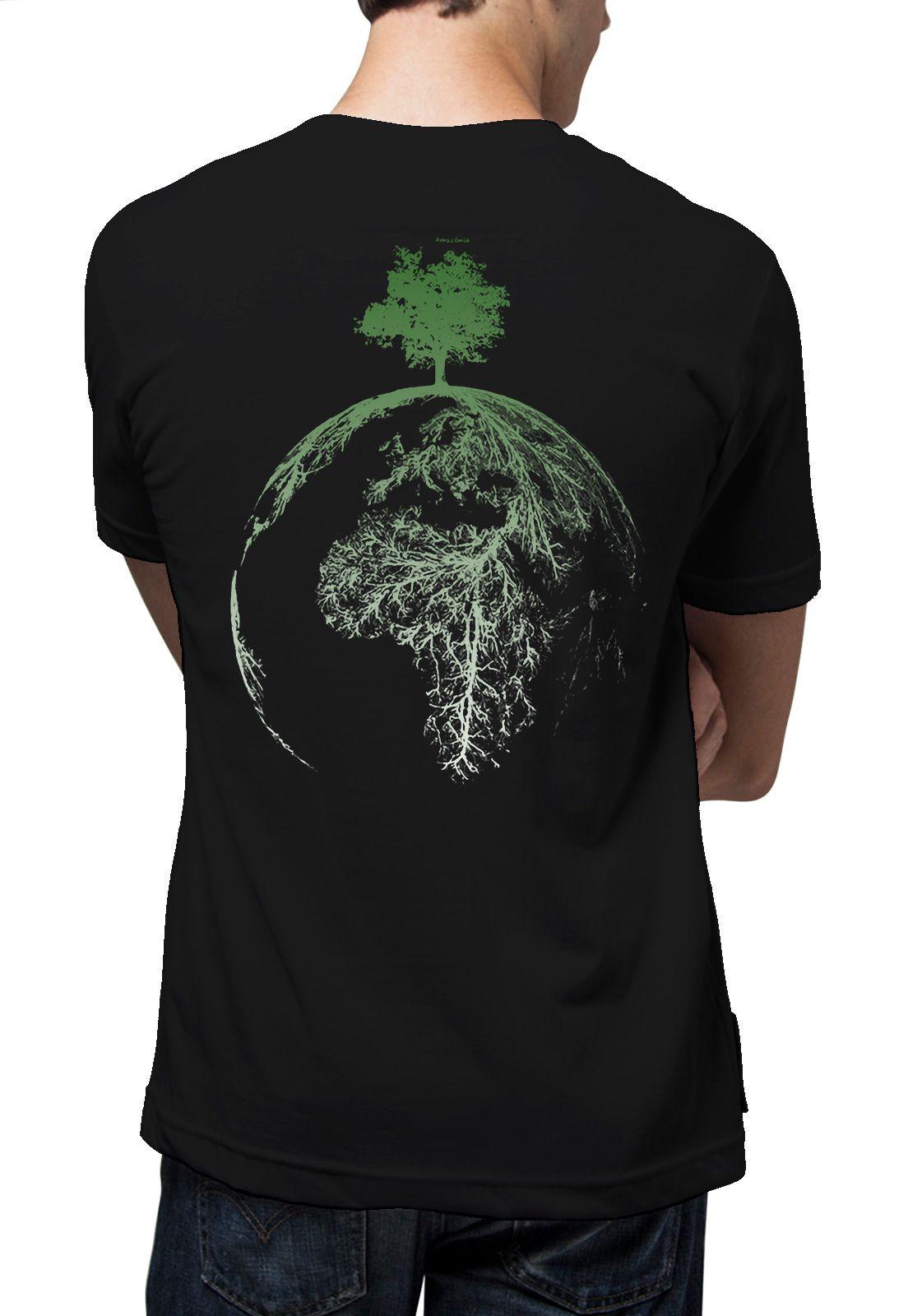 Camiseta Amazônia Árvore Planeta - Preto