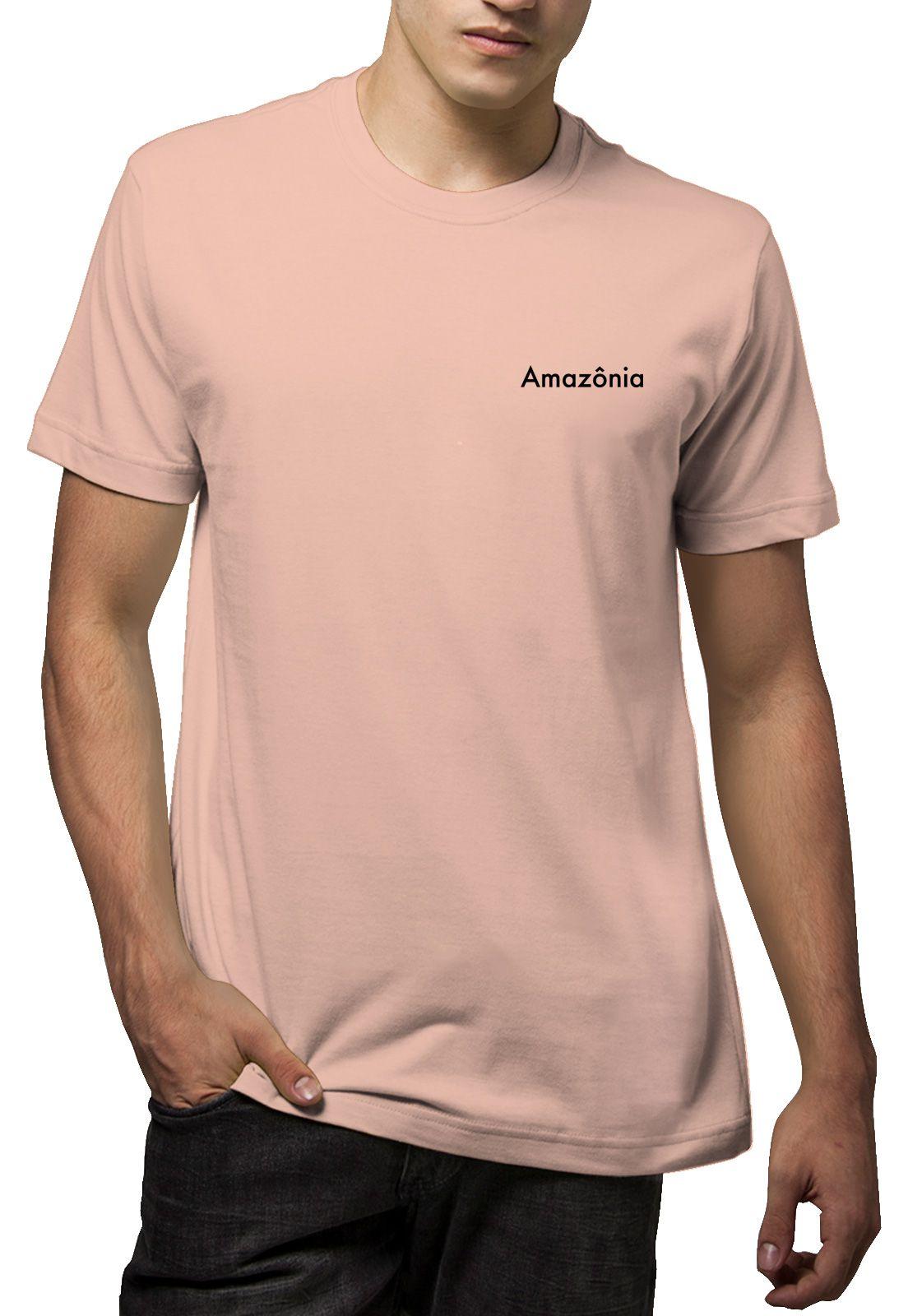 Camiseta Amazônia Aves Árvore - Salmão